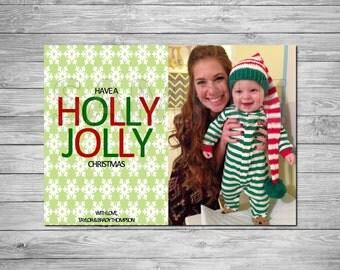 Holiday Photo Card, Christmas Photo Card, Printable Holiday Photo Card, Printable Christmas Photo Card, Holly Jolly Christmas, Green & White