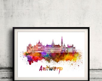 Antwerp skyline in watercolor over white background with name of city - Poster Wall art Illustration Print - SKU 1555