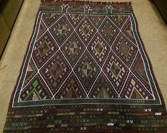 Vintage Turkish  Cicim Kilim Rug  /  5'5'' x 4'1'' ft  / 1.65 x 1.24 mt
