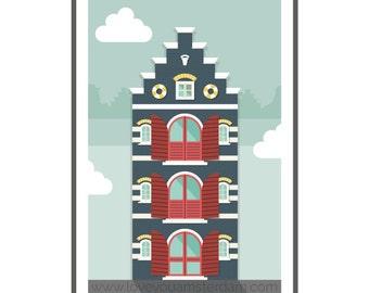 Amsterdam house print // Love you Amsterdam