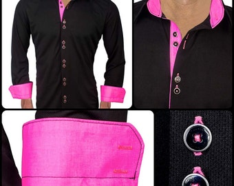 Black with Neon Pink Dress Shirt - Made in USA