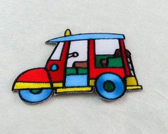 Tuk Tuk  Thai Taxi Iron on Patch (L) 8.7 x 6.1 cm - Tuk Tuk Car Applique Embroidered Iron on Patch