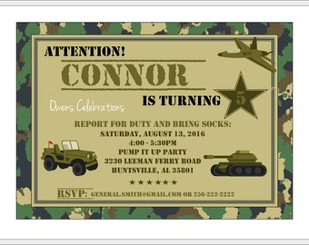 Camo Party Invitation, Military Birthday Invitation, Army Party Invitation - Digital File
