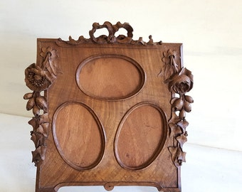 Antique French carved wood PICTURE FRAME with flowers and bow ribbon . 3 views !