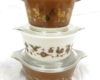 Pyrex Early American Cinderella Casserole Dish Set with Lids - Nesting