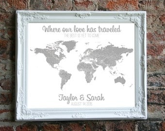 World Map Travel World Map Print Customized Push Pin Map Personalized US Map Newlywed Gifts Wedding Present for Her Unique Gifts from Groom