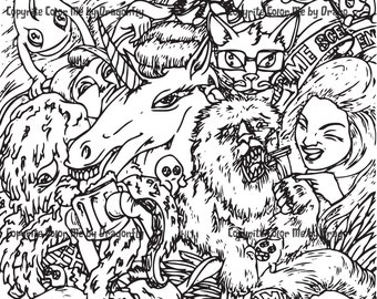Crazy Mixed-Up Girls and Animals to Download and Color At Home, Unicorn, Yeti.