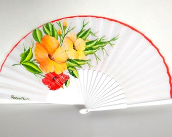 SPRINGTIDE Abanico wooden leaves and different types of flowers painted by hand