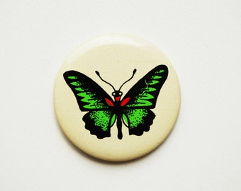Vintage (4 cm) 1.57'' butterfly insect fly brooch badge token clasp pinion pin button cordon band medallion pinback nature
