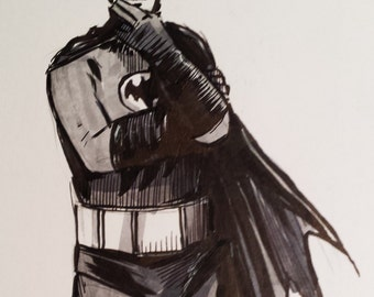 Adam West Batman 1966 12x17cm original drawing