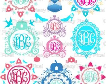 15 Princess monogram Frames Svg cutting file,princess carriage svg, princess cricut, SVG, DXF, Cricut Design Space, Silhouette Studio,