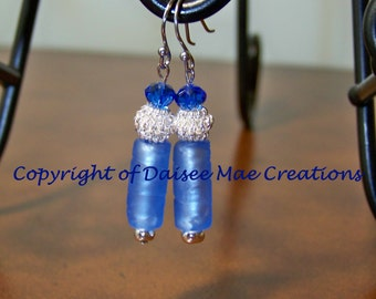 Blue Ice Dangle Earrings, Hand Made, Jewelry,