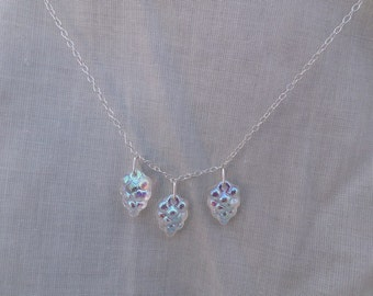 Glazed Clear Glass Grapes Sterling Silver Chain Necklace