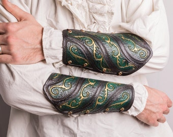 Elven leather bracers armbracers leather armour bracers larp made to order
