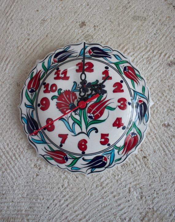 Clock, Handmade Ceramic Clock, Decorative Clock Made From Clay, Wall Clock, Floral Design Wall Decoration, Hand Painted Ceramic Plate Clock