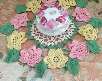 Vintage Crochet Pink & Yellow Roses Doily  - Cottage Chic Doily with Pink and Yellow Rose