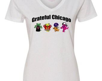 White Sox Bulls Blackhawks Bears, Grateful Dead Ladies Tee, Grateful Dead Dancing Bears Shirt, Chicago Sports, Chicago Grateful Dead Shirt
