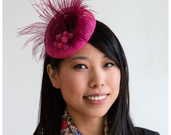 Fuchsia fascinator,pink cocktail hat,magenta ostrich feather,rose fascinator,party hat,bridesmaid headpiece,wedding accessory,sinamay pearls