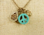 Yoga Necklace Peace Charm Lotus Flower Necklace Turquoise Stone Long Chain Zen Necklace