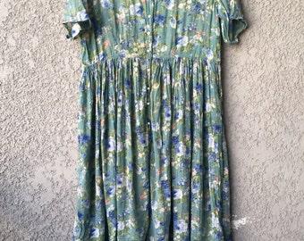 Green floral Pepita maxi dress