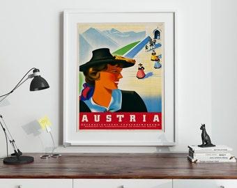 Austrian Vintage Travel Poster 1950s Austria Wall Art Print