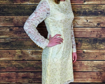 Sale! 80s Gold Lace Dress // Cream Yellow, Wedding, Cocktail Party Dress, 1980s, Women's Size Small