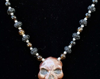 Handmade Clay Skull Pendent with Lava and Dark Brown Stone Beads