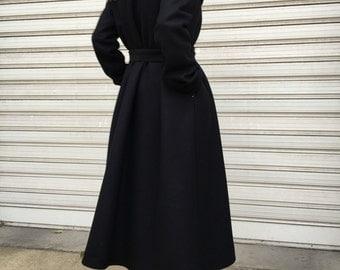 Maxi Cashmere Coat / Oversize Cape Coat / Unique Black High Collar Jacket / EXPRESS SHIPPING / LA 3020