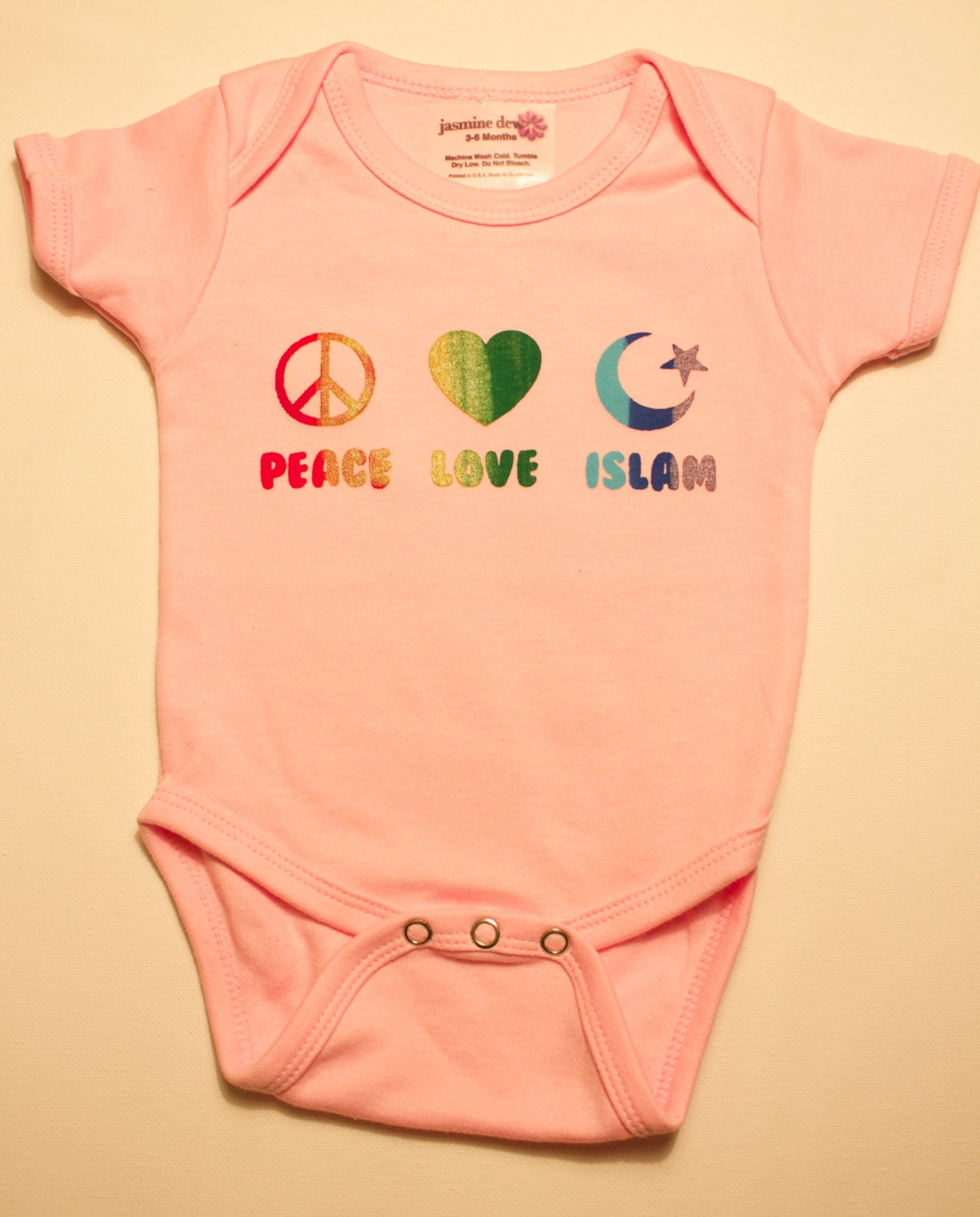Baby Gifts For Muslim : Peace love islam rainbow print muslim baby onesie perfect for