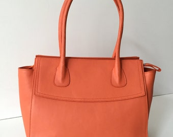 Leather tote, Coral leather tote, leather tote bag, leather satchel, coral leather tote, leather purse, leather tote bag