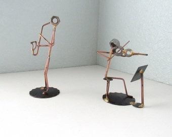 Music Decor,Figure Art,  Metal Decor, Wire Figures, Wire Art, Wire Art Sculpture, Industrial Decor, Violin Art, Music Lover, Saxophone Art