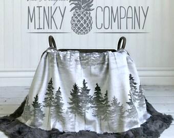 Baby Blanket - Forest Mist -  Designer Minky - Grey