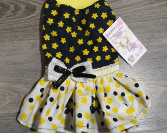 Yellow and black summer dog dress Designer pet dress for special occassion Custom made dress for dog Birthday dog dress