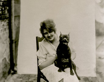 Bellocq Photo, Storyville Prostitute with Dog, New Orleans, 1910-15