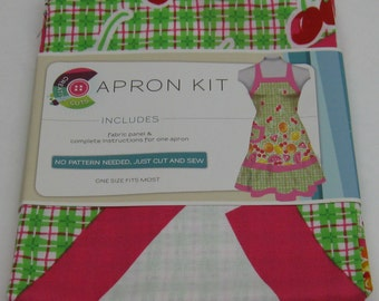 Fabric Apron Kit Panel Complete Instructions for One Apron No Pattern Needed, Just Cut & Sew One Size Fits Most Choose One FREE SHIPPING!