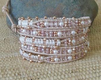 Beaded Leather Wrap Bracelet with Macrame Detail: Blush/Rose Gold/Crystals/Pearls/Seed Beads/Bridal Bracelet/Wedding Bracelet/Boho Bride