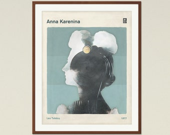 Leo Tolstoy - Anna Karenina   Medium Literary Book Cover Poster, literary gifts, Classic Literature, Modern Home Decor, Digital Download