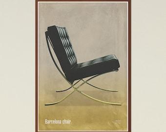 Barcelona chair - Mid Century Modern Design, Scandinavian Modern, chair poster, printable art, furniture art, modern art, Instant Download