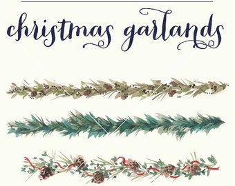 Christmas greenery, ribbons and garland hand painted watercolor clipart-INSTANT DOWNLOAD DIY