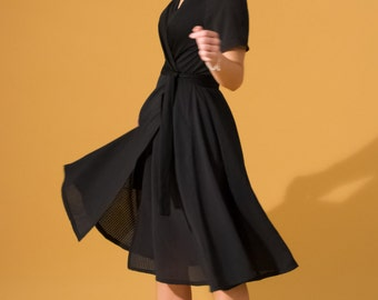 Black crossover dress in cotton and polyester