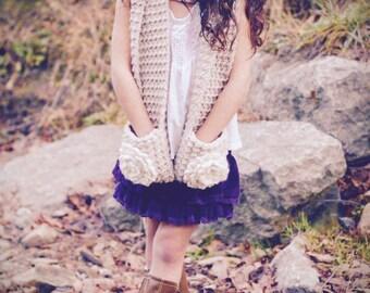 Crochet Pattern, crochet pocket scarf pattern, scarf pattern, crochet pocket scarf with flowers, sizes child and adult, KENZIE POCKET SCARF