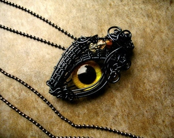 Steampunk Gothic Pendant - Smoke Wire - Color Shift - Raven Dragon Evil Eye One of a kind - Yellow Gold Lightning Storm Royal - GLOW