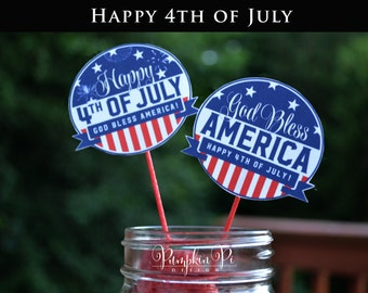 Printable July 4th Cupcake toppers, Instant Download July 4th Cupcake Toppers, 4th of July Party Toppers
