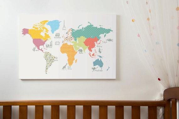 World map print childrens world map play room map size a1 like this item gumiabroncs Gallery