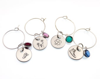 Wine Glass Charms | Hand Stamped Set of 4 Wine Glass Charms | Wine Glass Tags | Wine Glass Markers | Personalized Gift | Hostess Gift