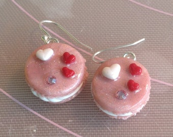sparkly pink, polymer clay, macaron, dangle, earrings