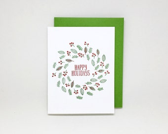 Letterpress Christmas Card // happy holidays card, letterpress holiday card, season's greetings, merry christmas wreath, holly berries