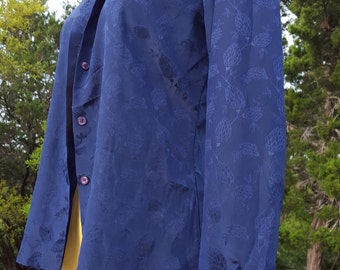 Vintage Purple Dark Blue Semi Sheer Blouse by Panther, Office Clothing, Vintage Clothing