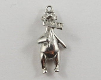 Jasper Bear Holding Sign Sterling Silver Vintage Charm For Bracelet