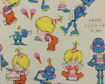 Birthday Boy & Toy Robot Vintage Original 1950s Gibson Children's Gift Wrapping Paper